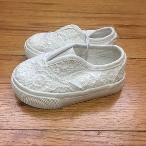 Sz 4 NWT White Tennis Shoes w/ Lace Details